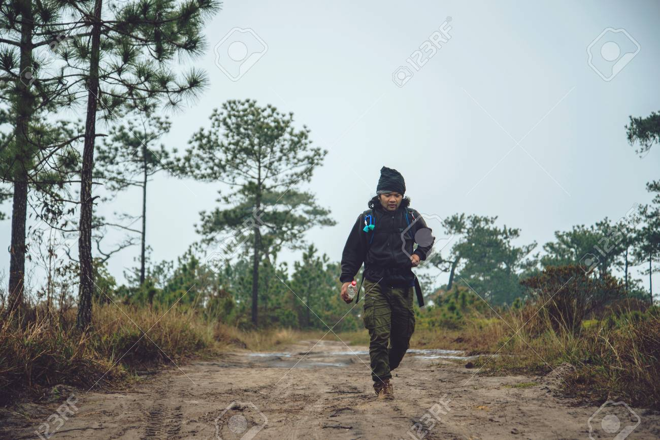 Asian Men Travel Photograph Nature Travel Relax Walk On The