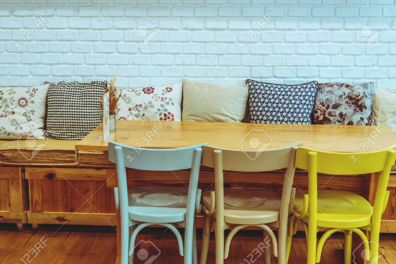 interior coffee shop style trendy. Furniture wooden pastel color...