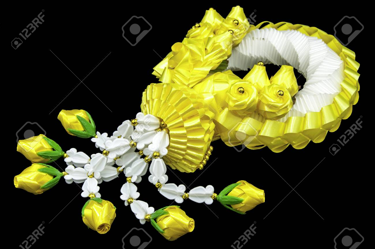 Jasmine And Yellow Flower Garlands On Black Background Traditional