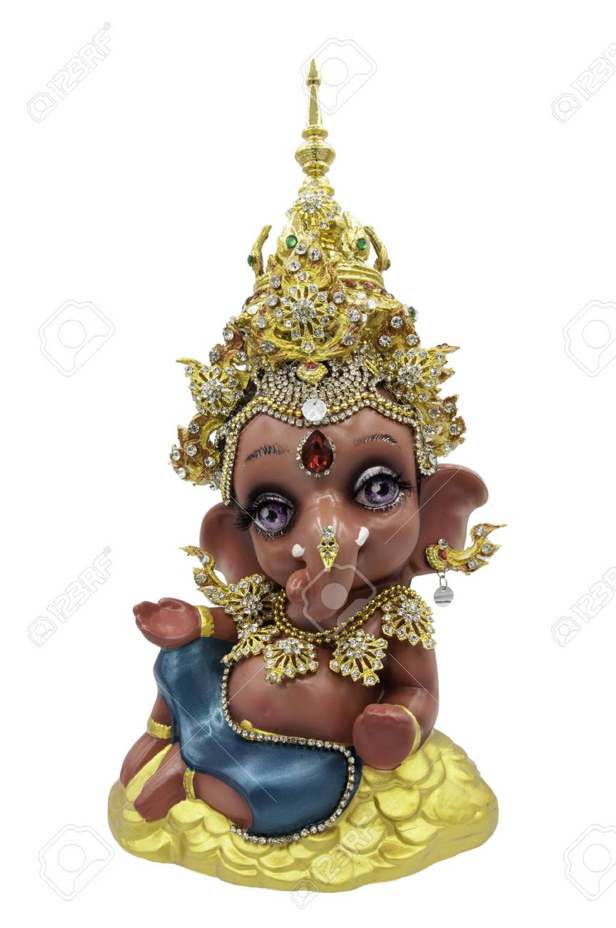 Hindu God Ganesha Ganesha Idol On White Background Ganesha Kid