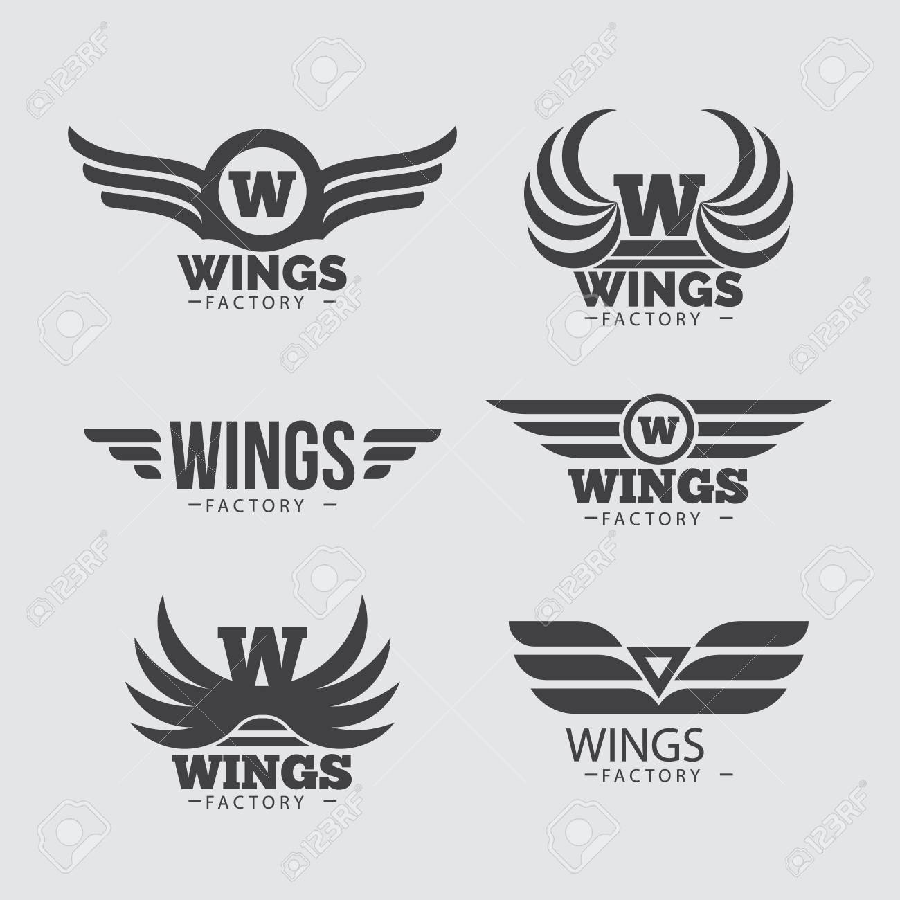 vector wings logo set winged logo company and icon wing flying royalty free cliparts vectors and stock illustration image 119690469 vector wings logo set winged logo company and icon wing flying