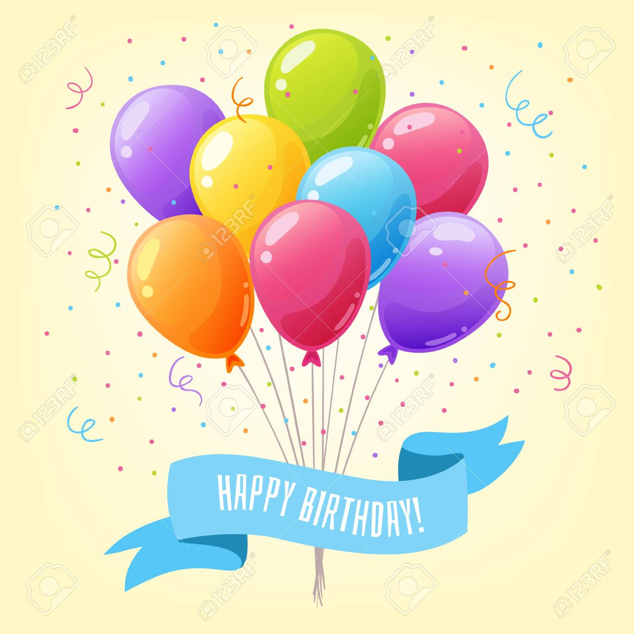 Colorful Balloons Happy Birthday Design Template For Greeting