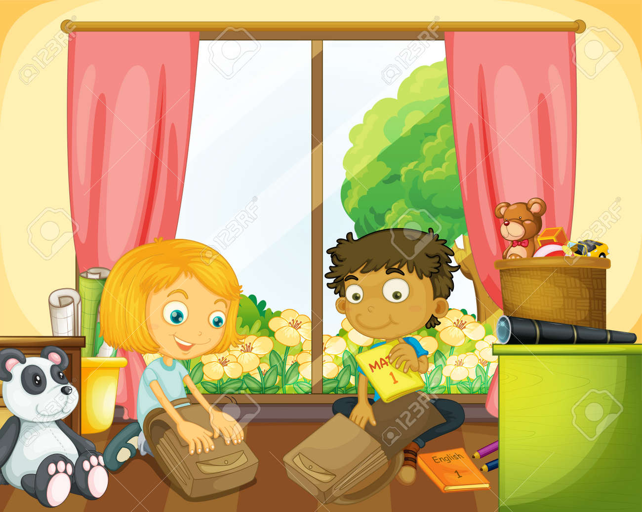 Two kids packing schoolbag in the house illustration - 159784276