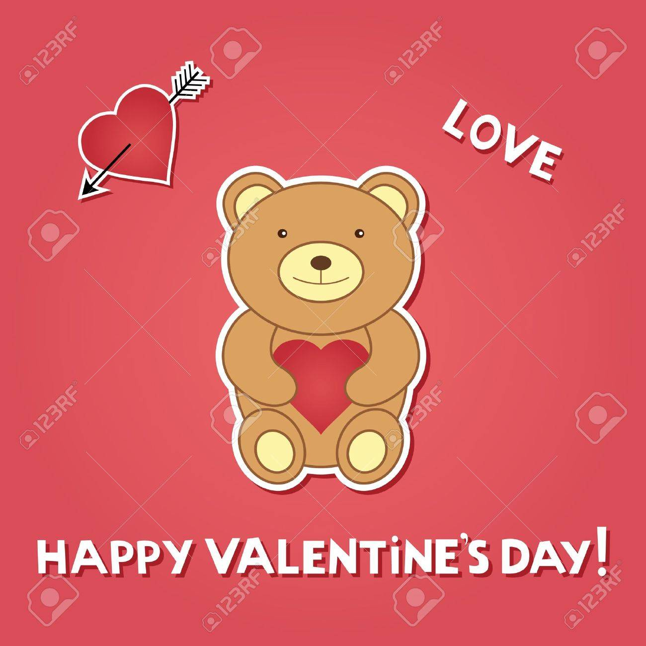 Valentine Card With Teddy Bear Royalty Free Cliparts Vectors And – Teddy Bear Valentines Day Card