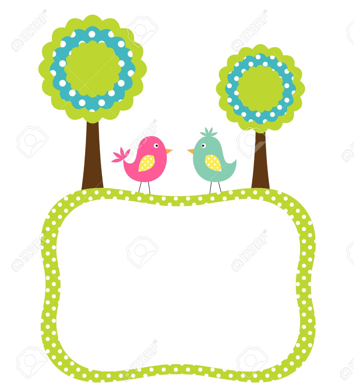 Cute Frame With Birds And Trees Royalty Free Cliparts, Vectors, And ...