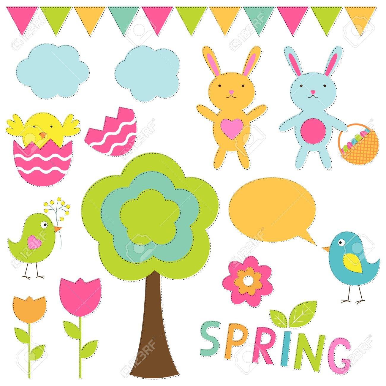 Spring elements set Stock Vector - 12805797