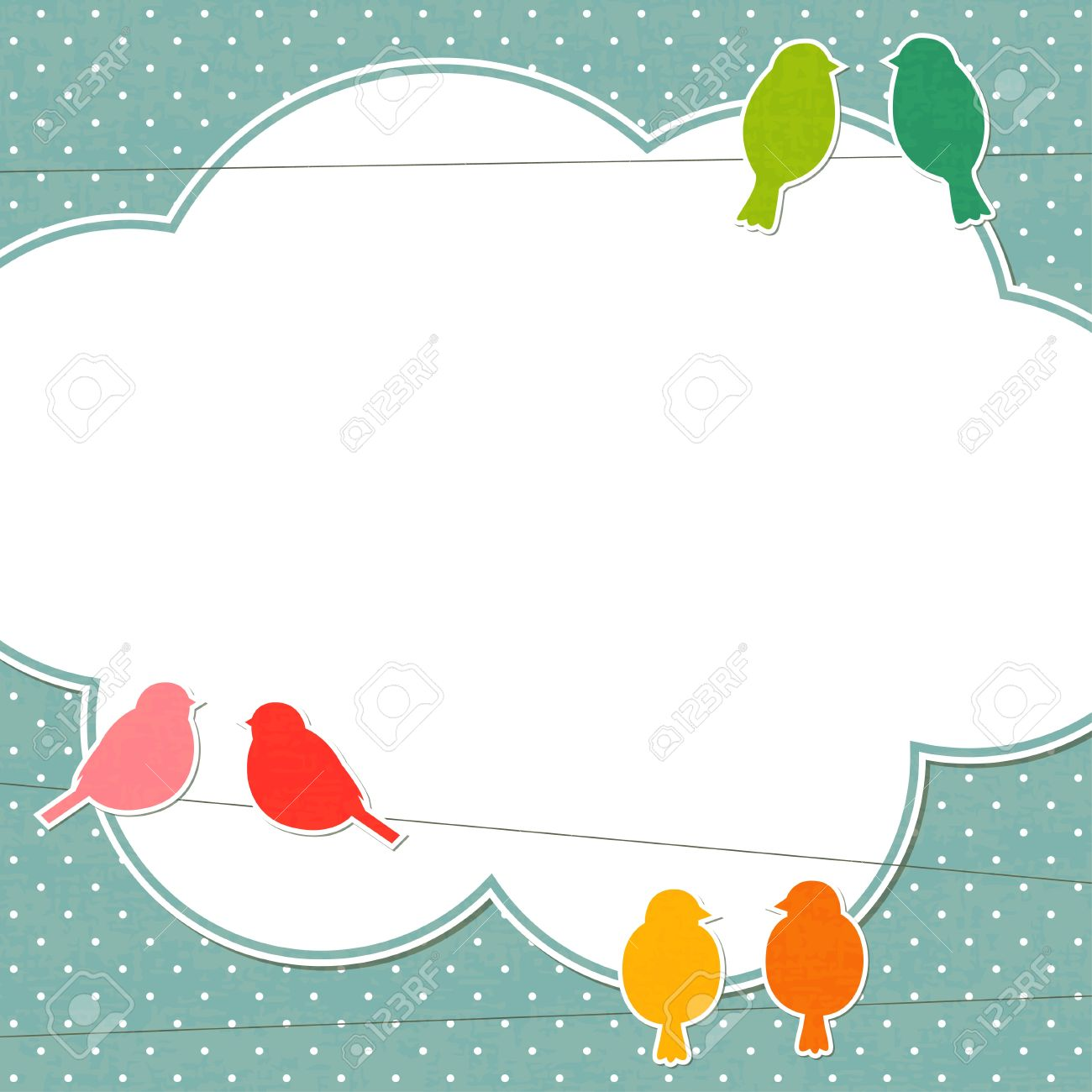 Cute Frame With Colorful Birds Royalty Free Cliparts, Vectors, And ...