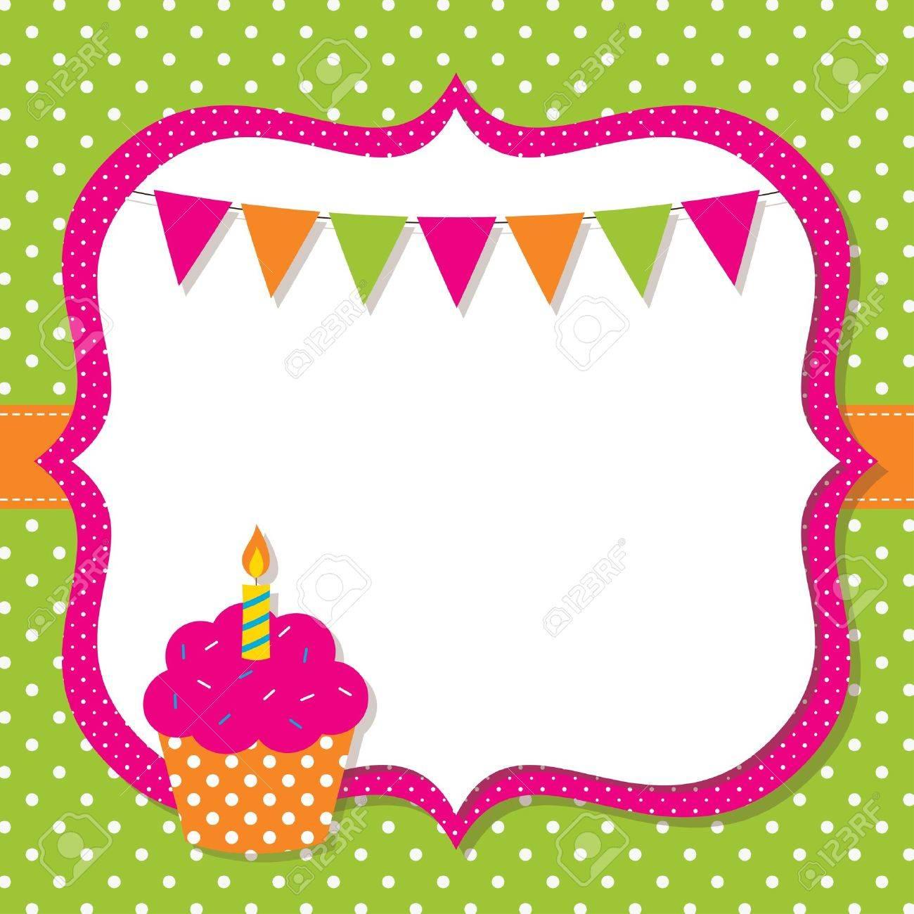 Cumpleaños Marco Con Una Magdalena Ilustraciones Vectoriales, Clip ...