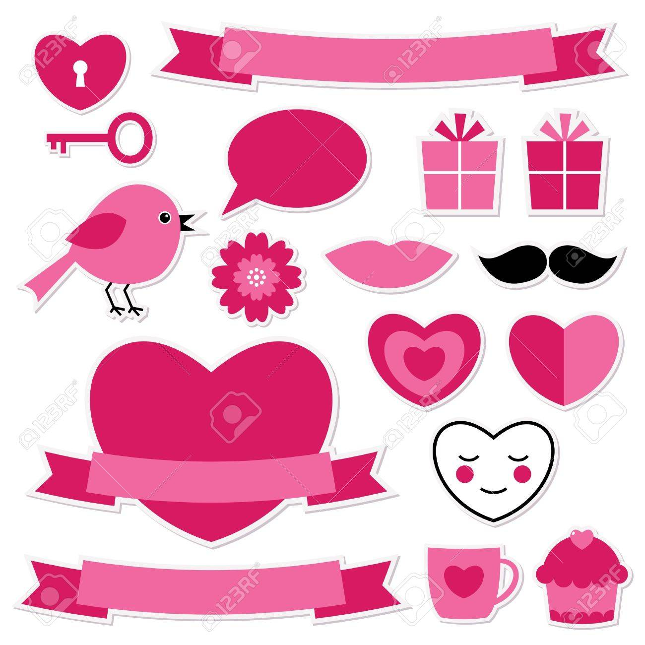 Valentine stickers set Stock Vector - 17105840