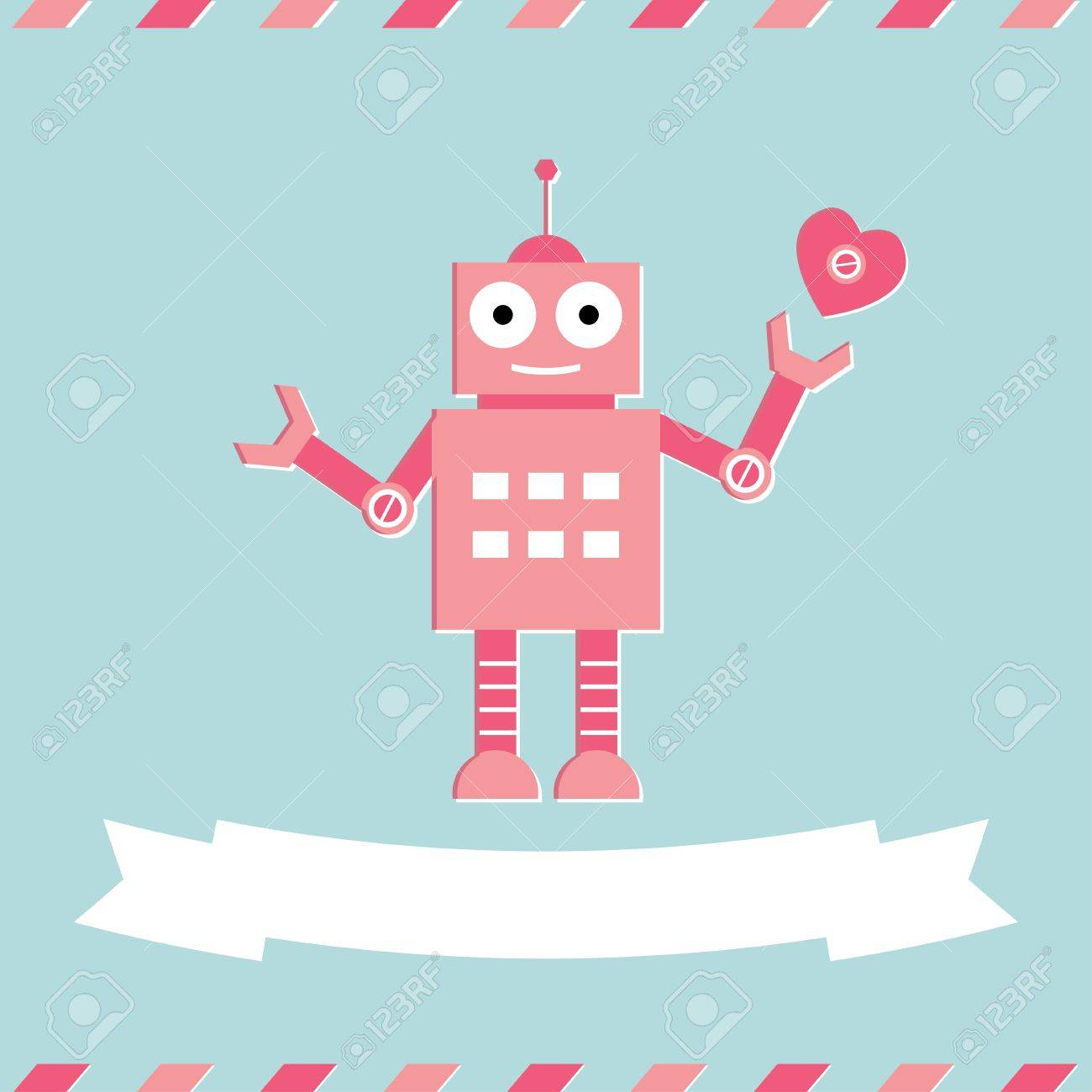Cute robot Valentine s Day card Stock Vector - 17666281