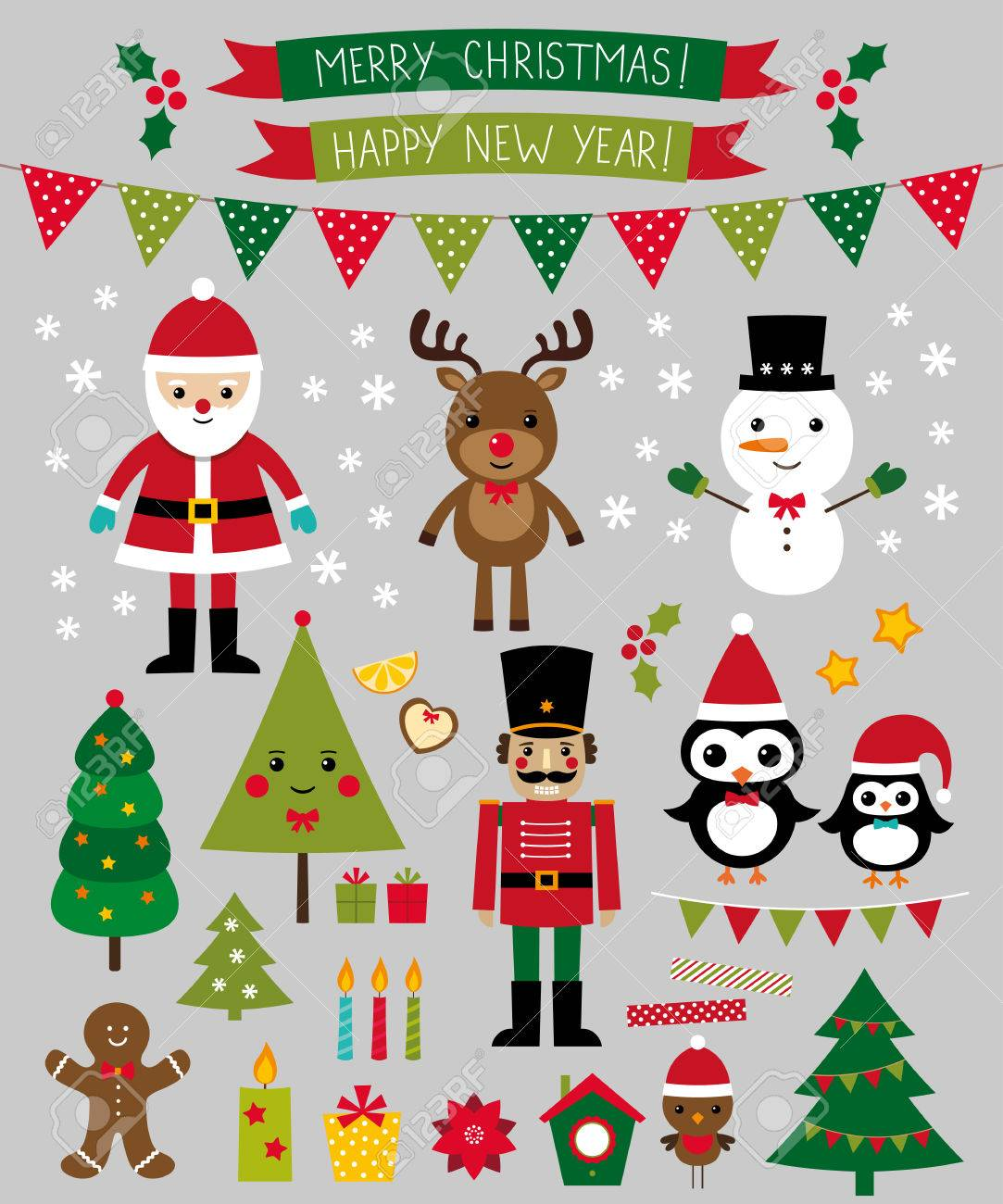 Christmas Characters And Design Elements Set Royalty Free Cliparts ...