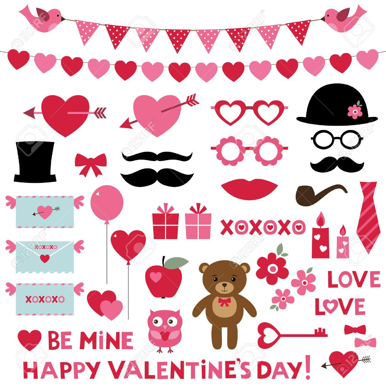 Valentines Day Set Photo Booth Props And Design Elements Royalty