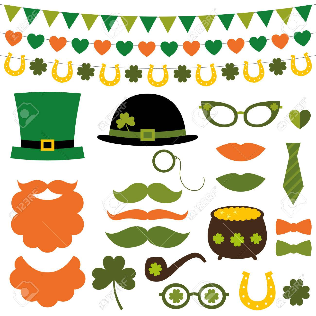st patricks day decoration and photo booth props set royalty free