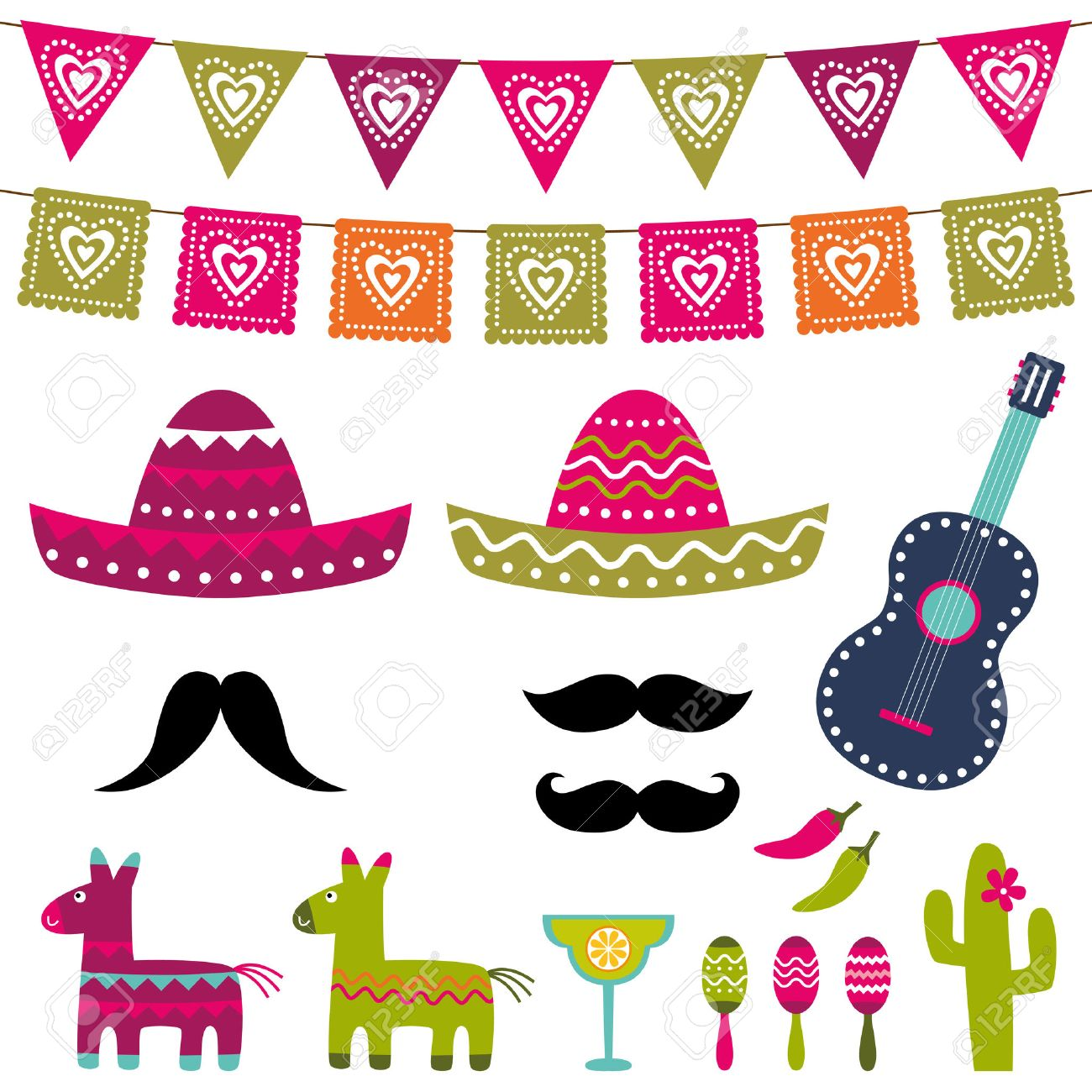 Mexican Party Decoration And Photo Booth Props Set Royalty Free