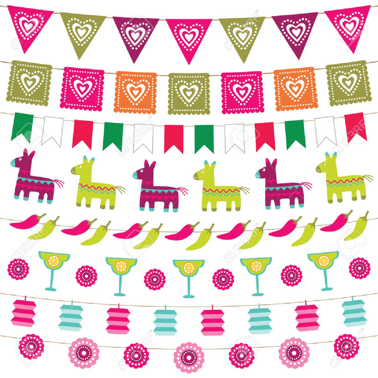 mexican party bunting flags set royalty free cliparts vectors and