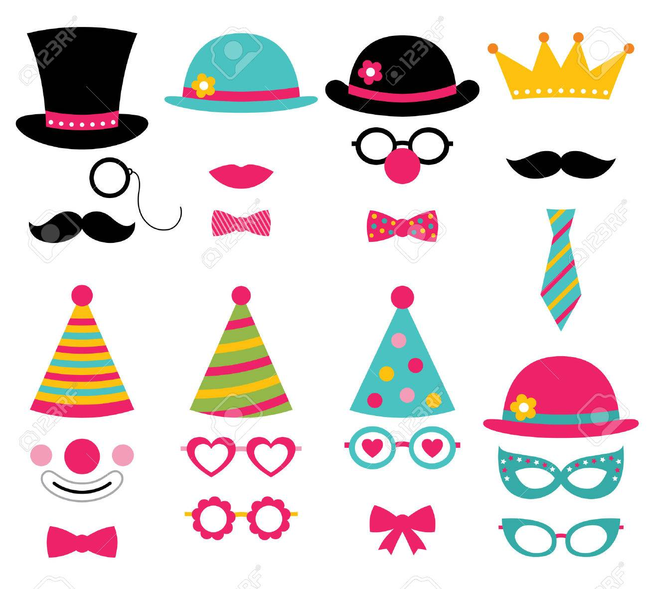 Birthday Party Photo Booth Props Royalty Free Cliparts Vectors And