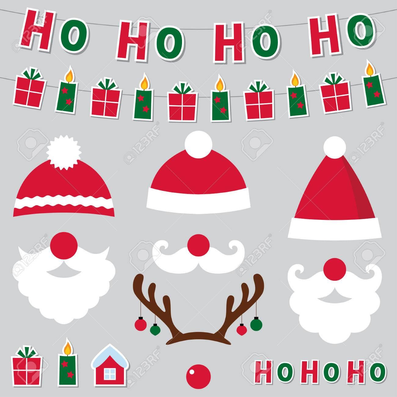 Weihnachten Santa Hüte Und Dekor-Set Lizenzfrei Nutzbare ...