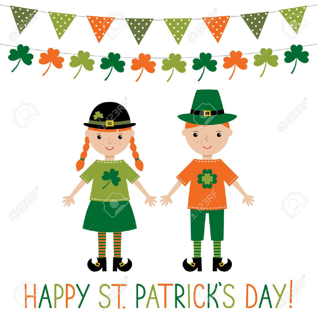 greeting card for st patrick u0027s day with cute kids royalty free