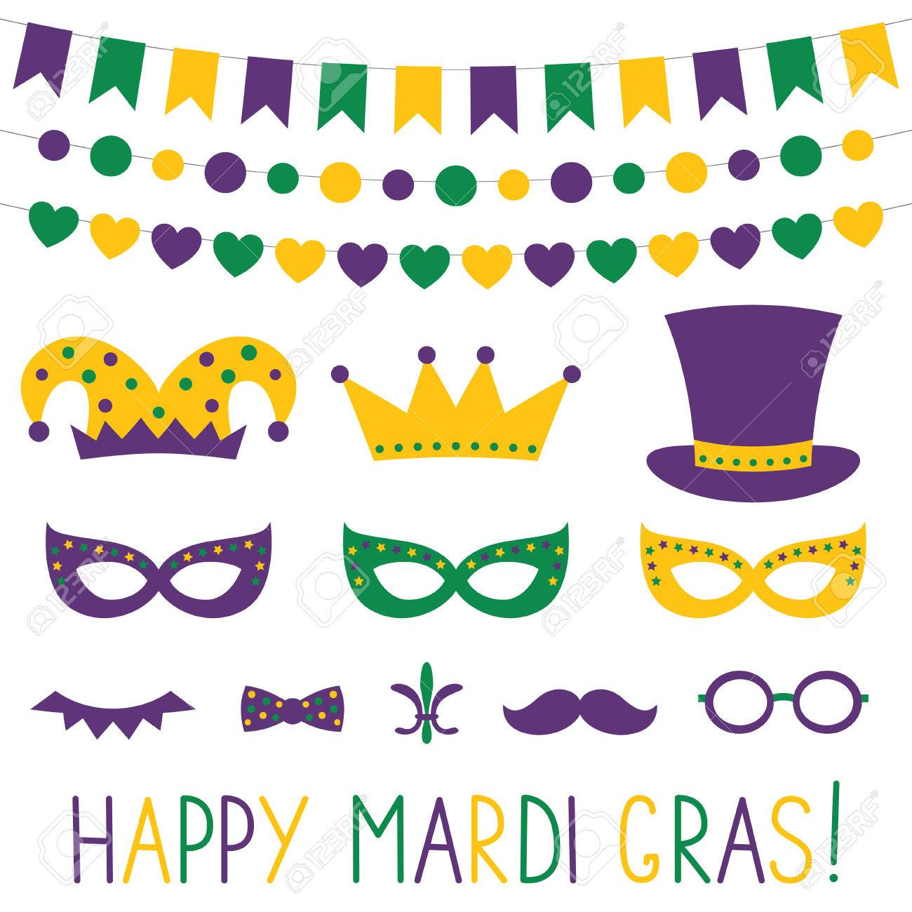 Mardi Gras Decoration And Photo Booth Props Royalty Free Cliparts