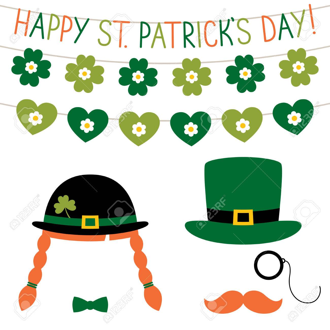 st patrick u0027s day photo booth props set royalty free cliparts