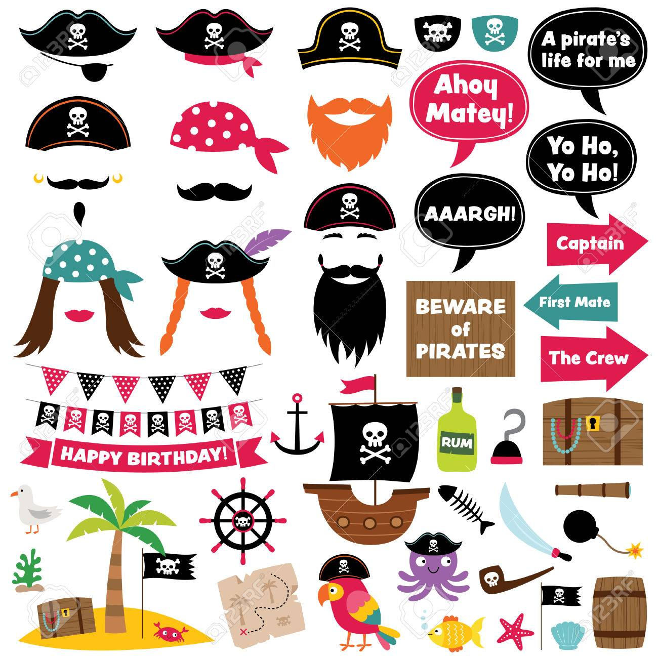 Pirate Party Cartoon Decoration And Photo Booth Props Royalty Free