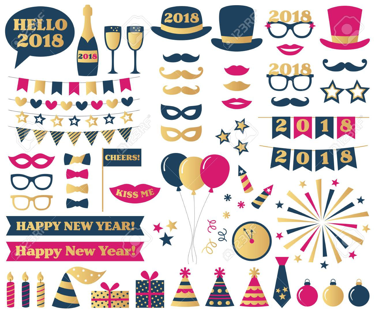 New Year Eve Party Booth Props Royalty Free Cliparts Vectors And