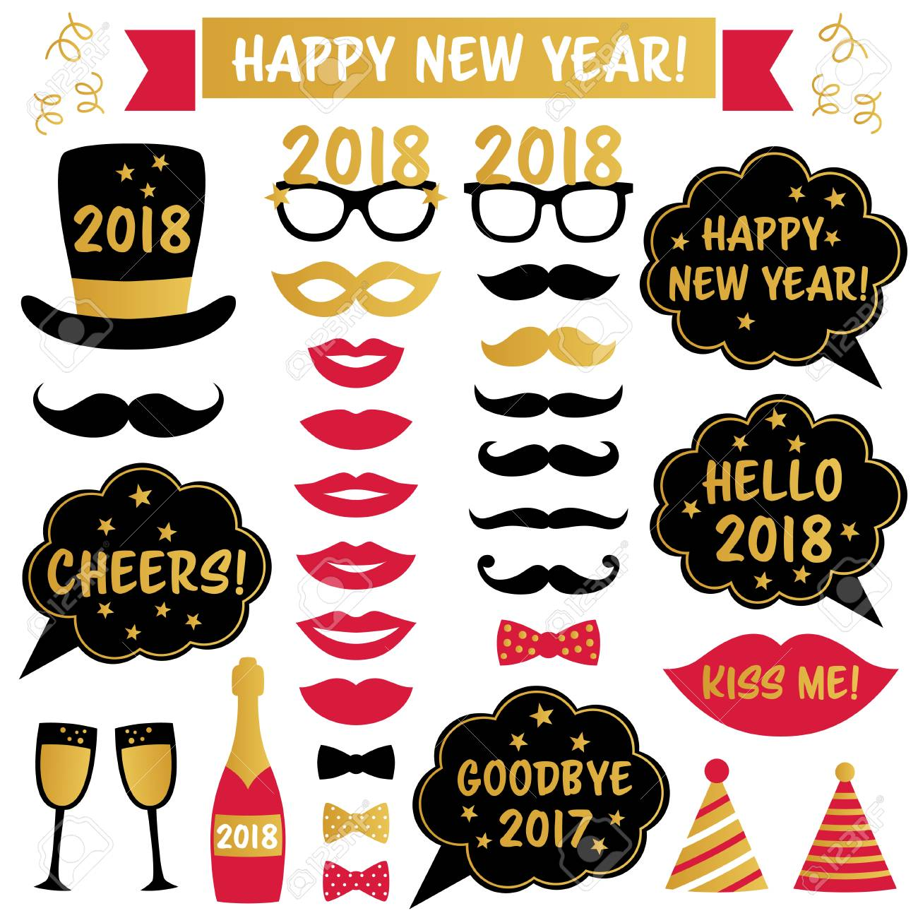 New Year 2018 Vector Party Photo Booth Props Royalty Free Cliparts