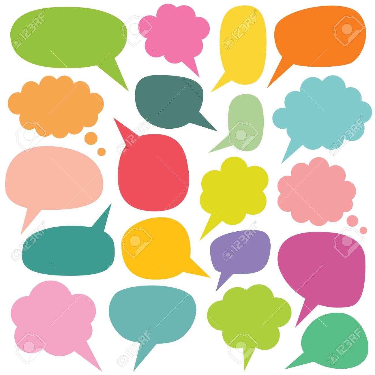 Colorful speech and thought bubbles set - 124055350