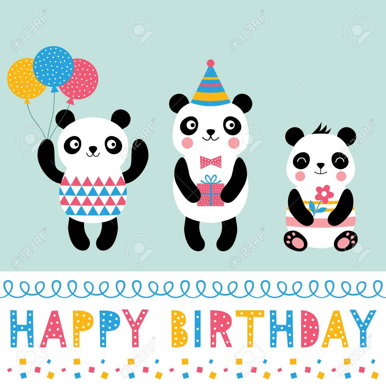 Birthday Greeting Card With Cartoon Panda Bears Royalty Free Cliparts Vectors And Stock Illustration Image 127095968