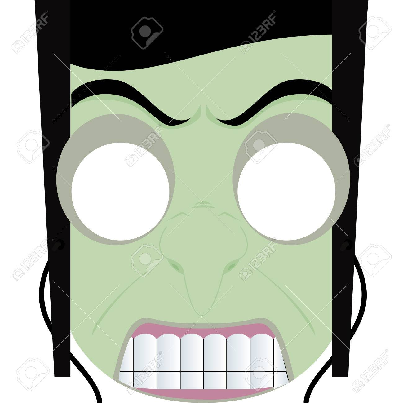 Abstract Cute Halloween Mask On A White Background Royalty Free ...