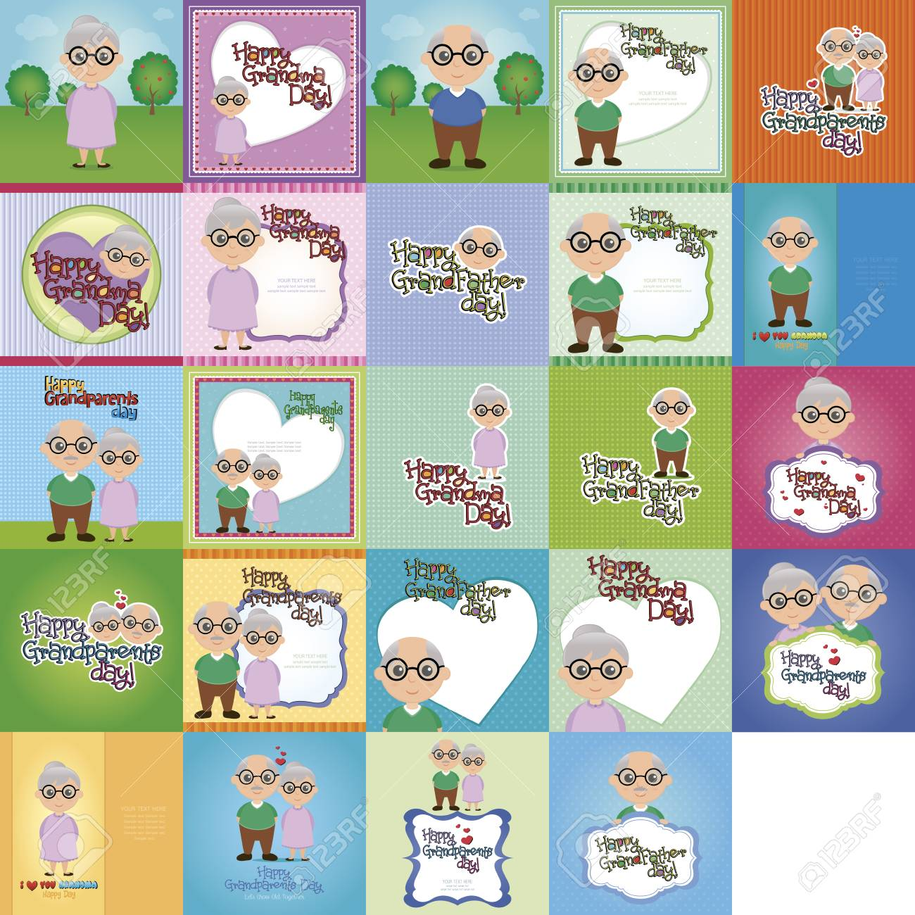 set of grandparents day cards vector illustration stock photo