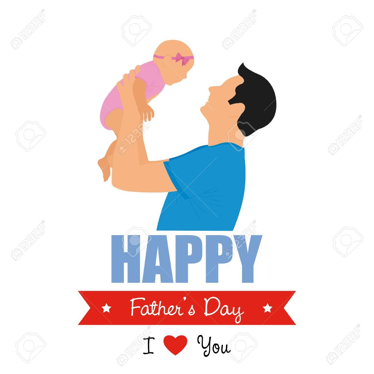 Papa Isolé Tenant Son Bébé Et Un Ruban Avec Le Texte Pour Les Célébrations De La Fête Des Pères