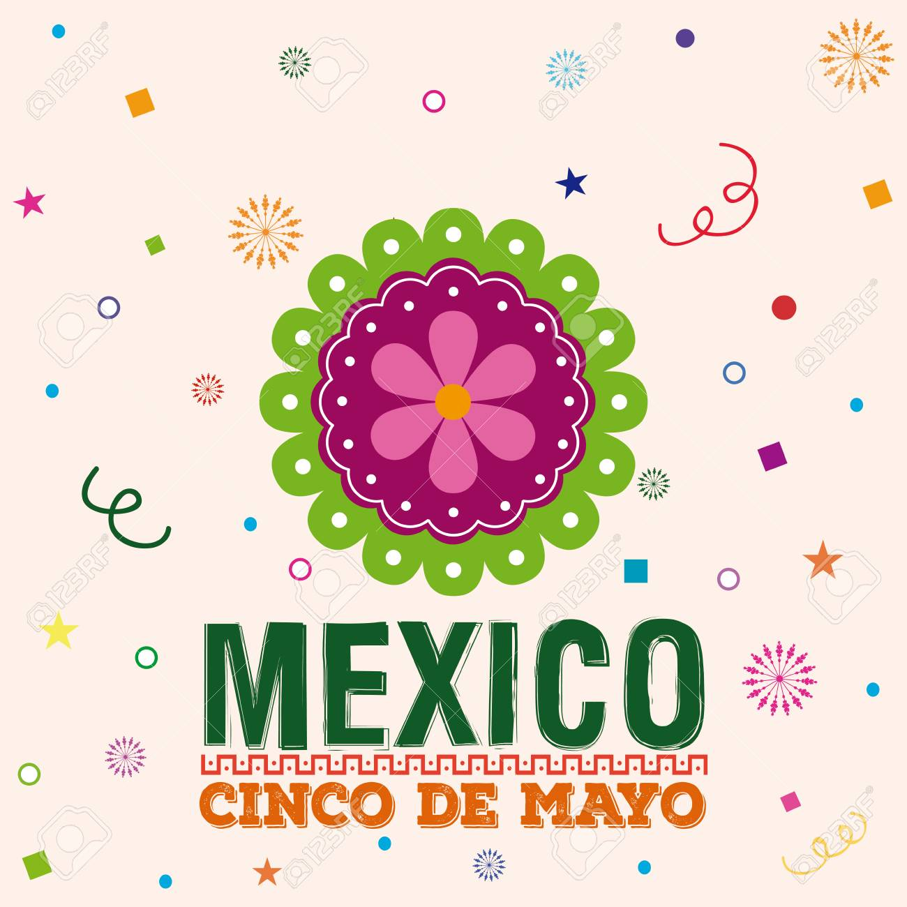 Colored background with a traditional mexican flower and text