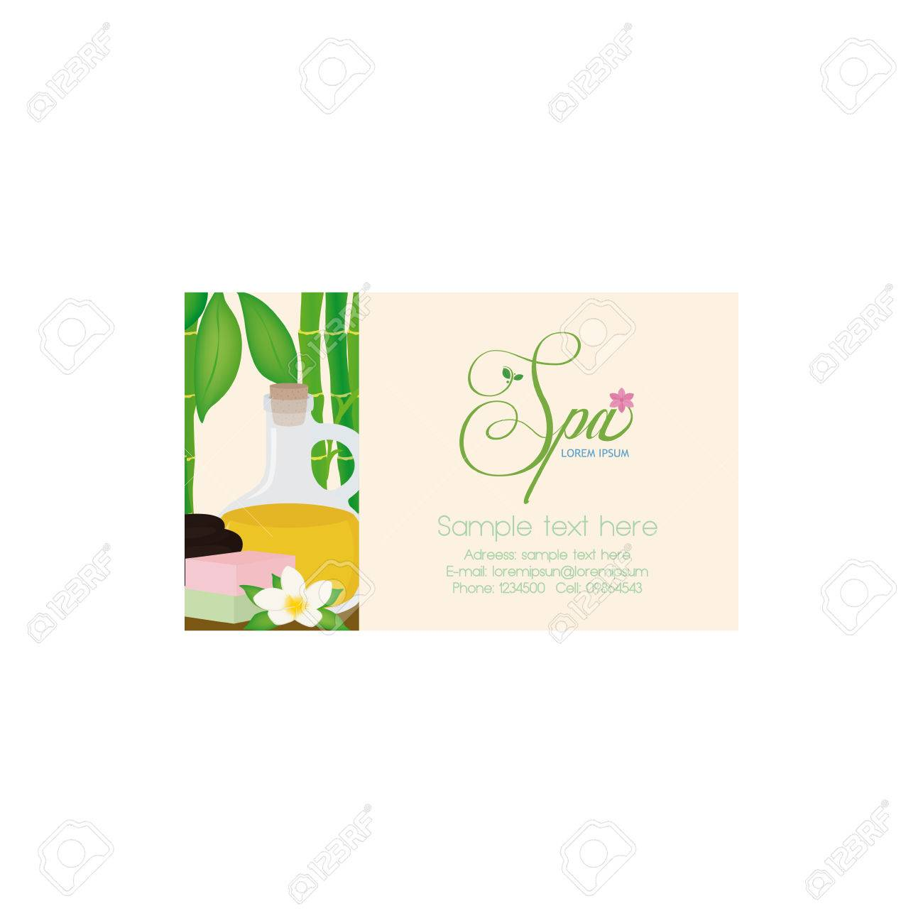 Isolated Spa Business Card With Some Spa Objects, A Butterfly ...