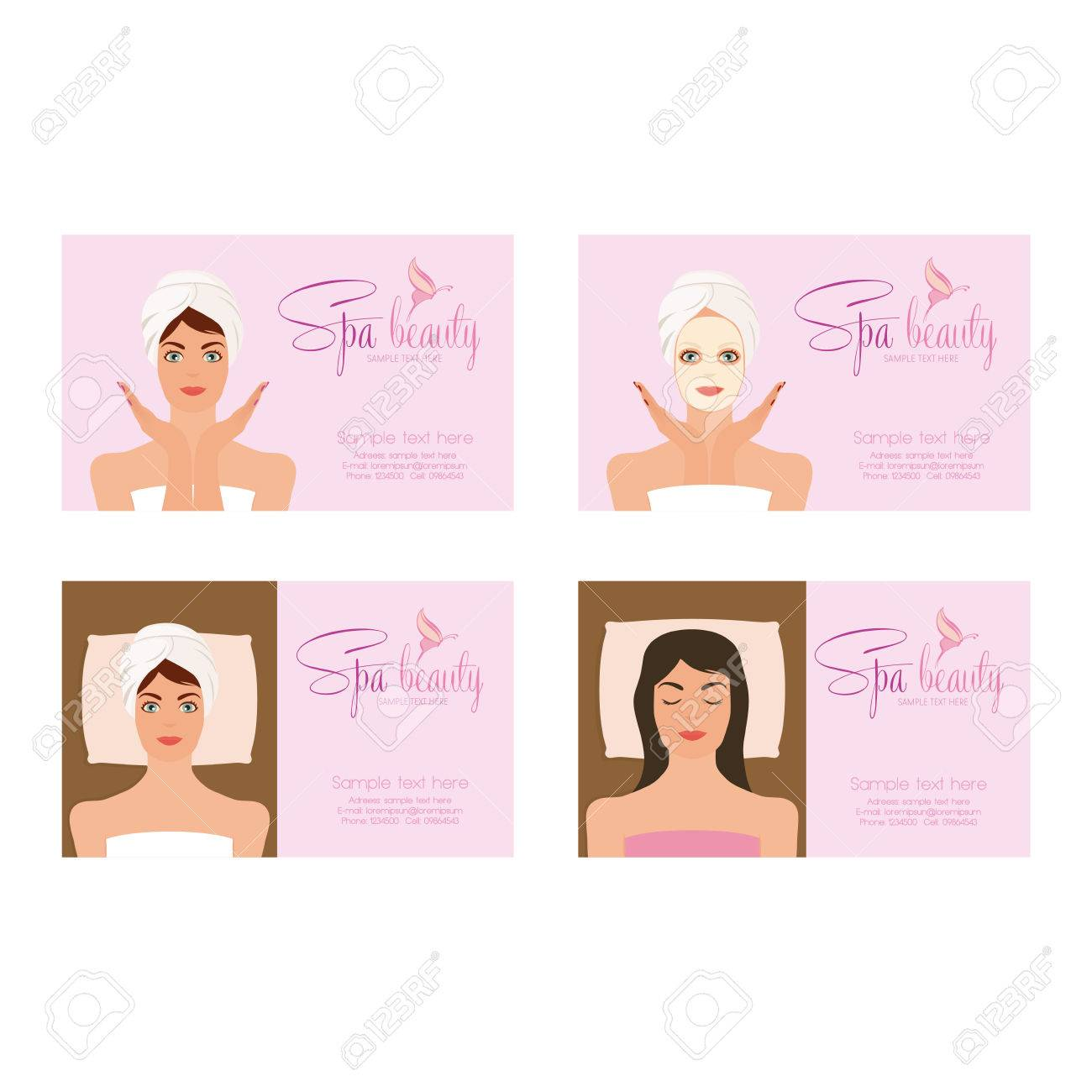 Set Of Spa Business Cards With Women In Towels, Butterflies Icon ...