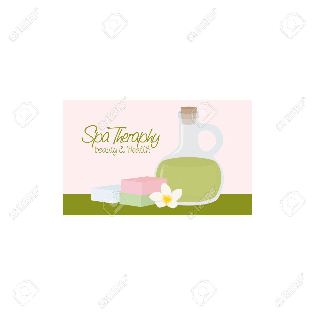 Isolated Spa Business Card With A Flask Of Lotion, Text, A Flower ...