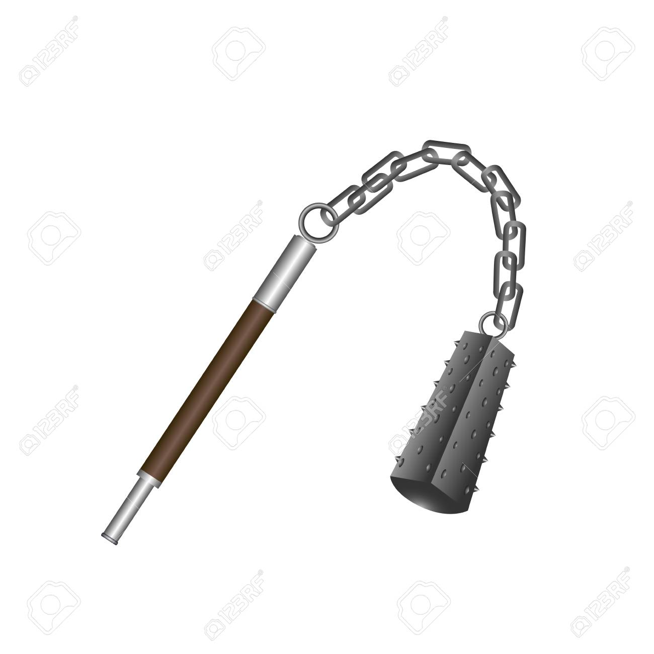 isolated flail weapon on a white background vector illustration