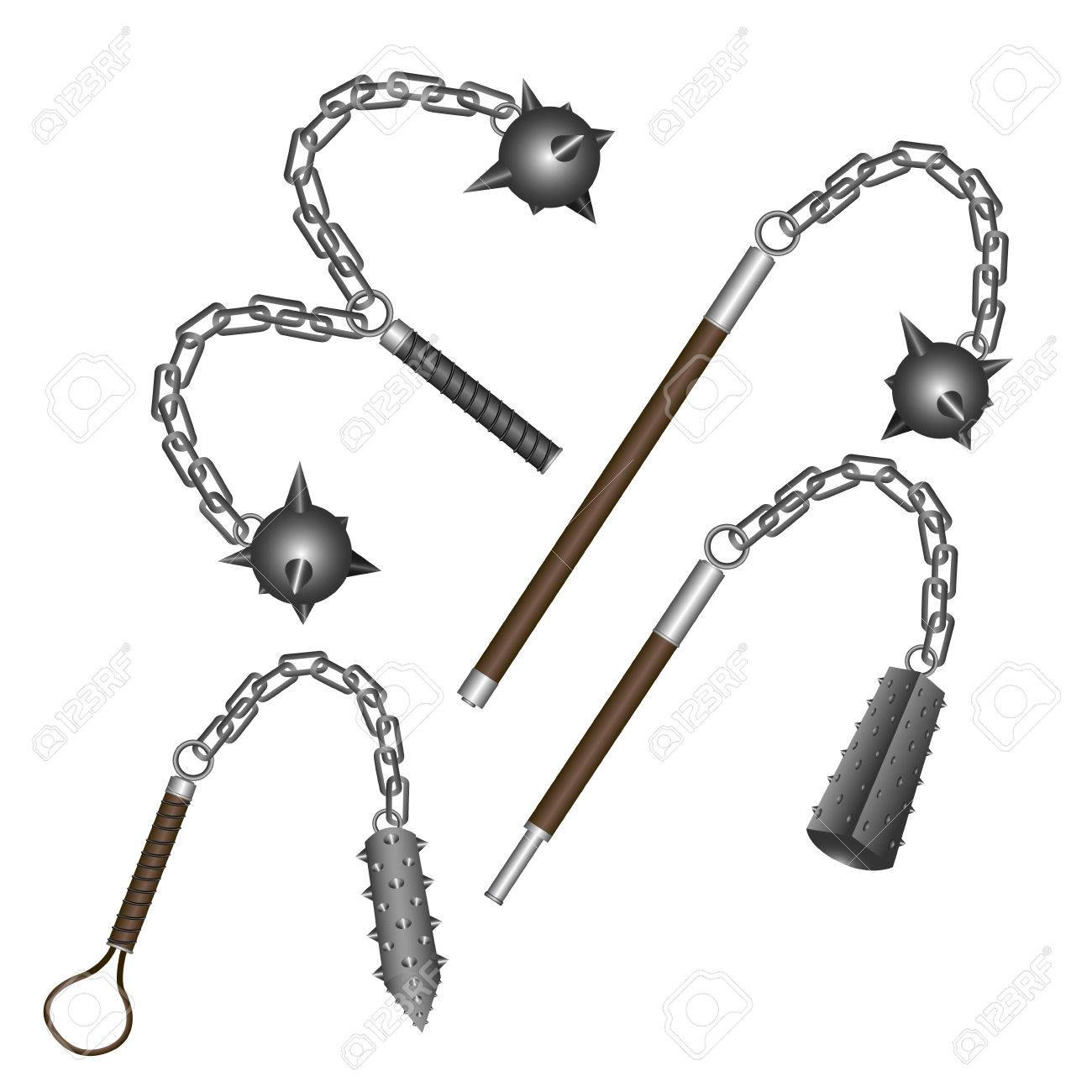 set of flail weapons on a white background vector illustration