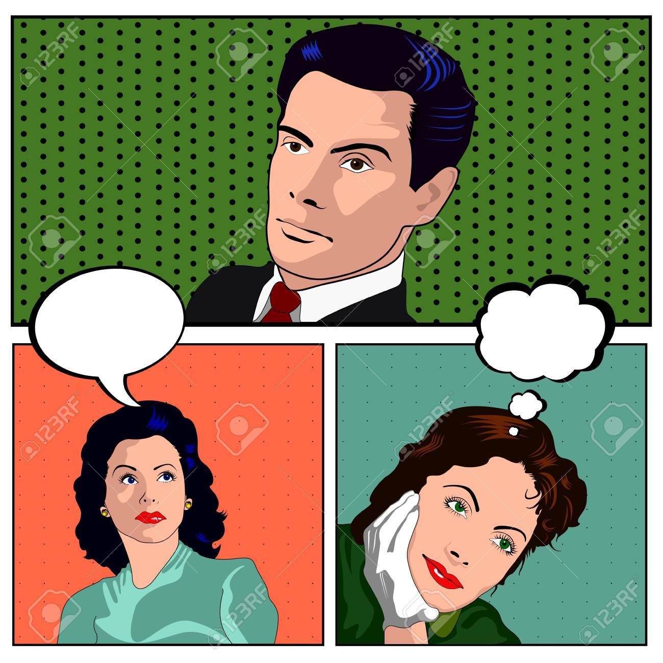 Group Of Comic Pop Art People Graphic Designs Vector Illustration