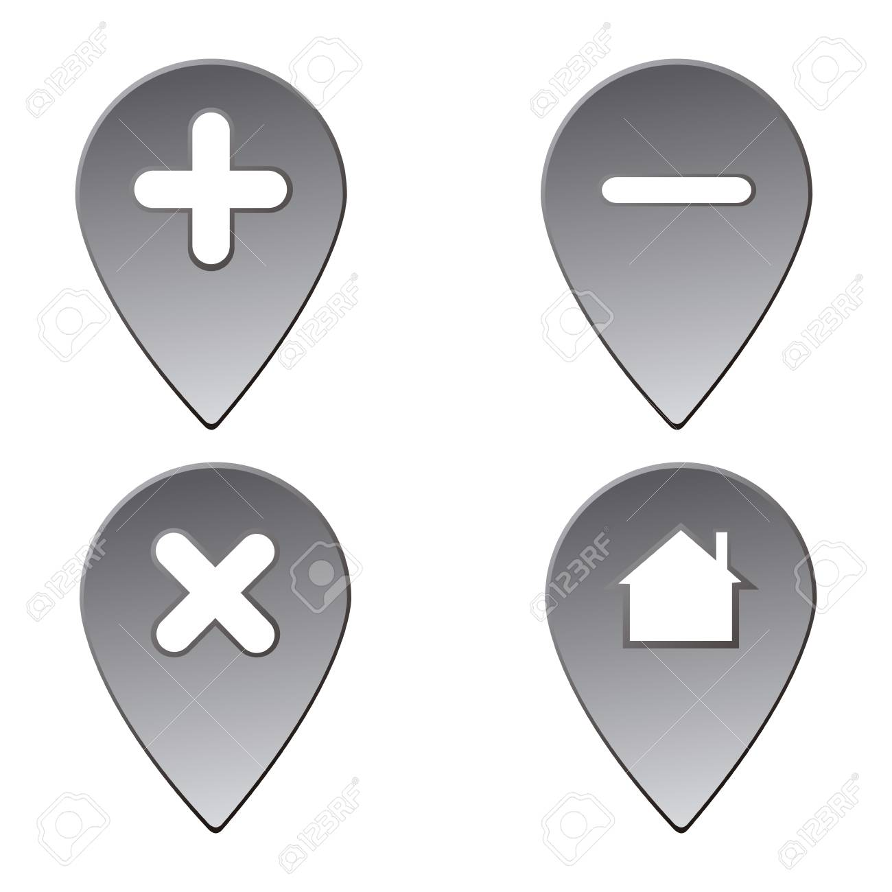 set of map pins on a white background vector illustration royalty