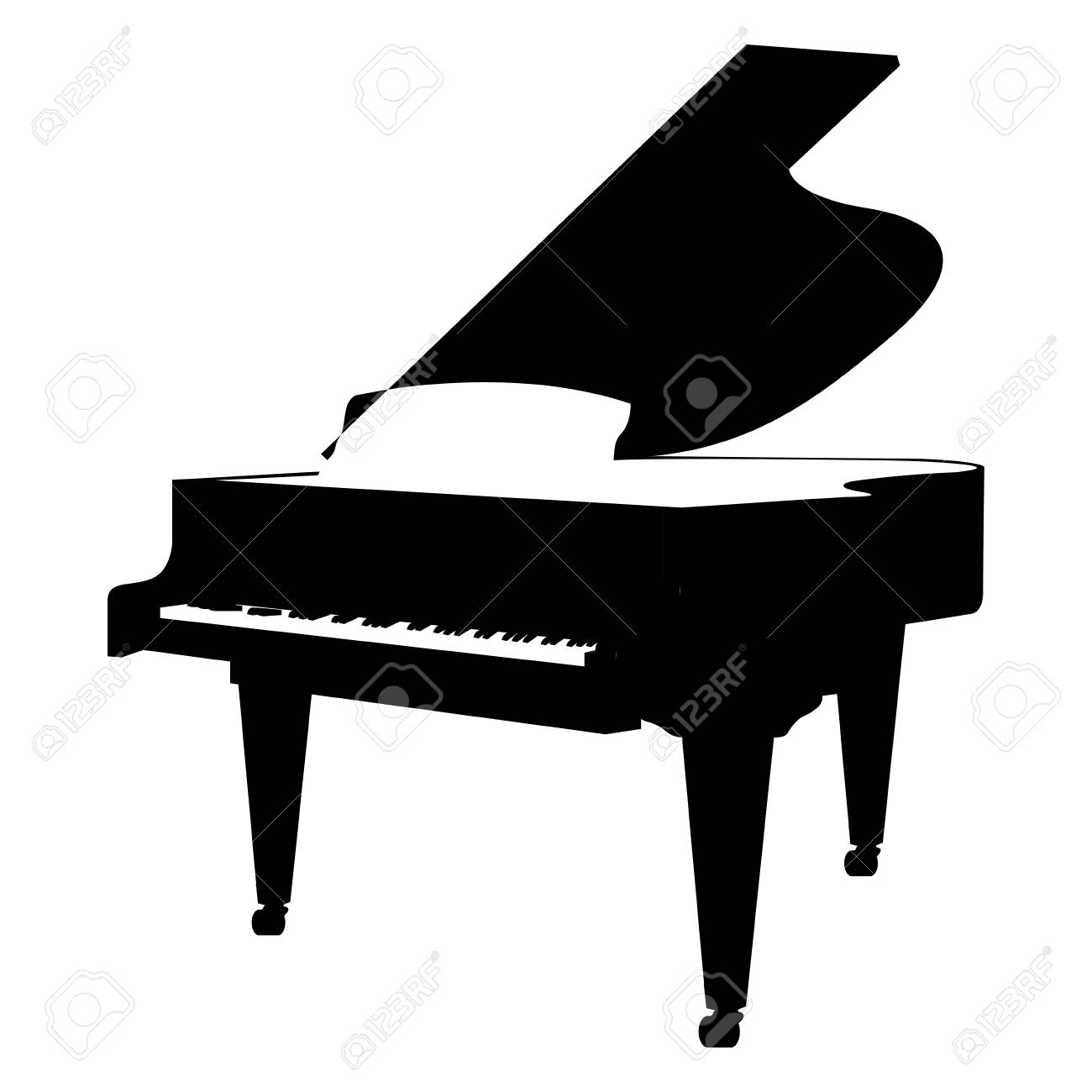 Isolated Silhouette Of A Piano Vector Illustration Stock