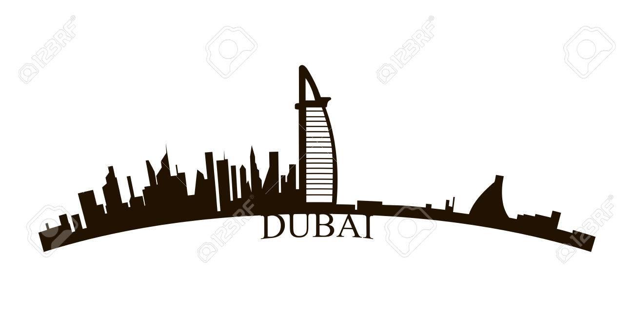 Isolated Dubai Skyline On A White Background Vector Illustration Stock