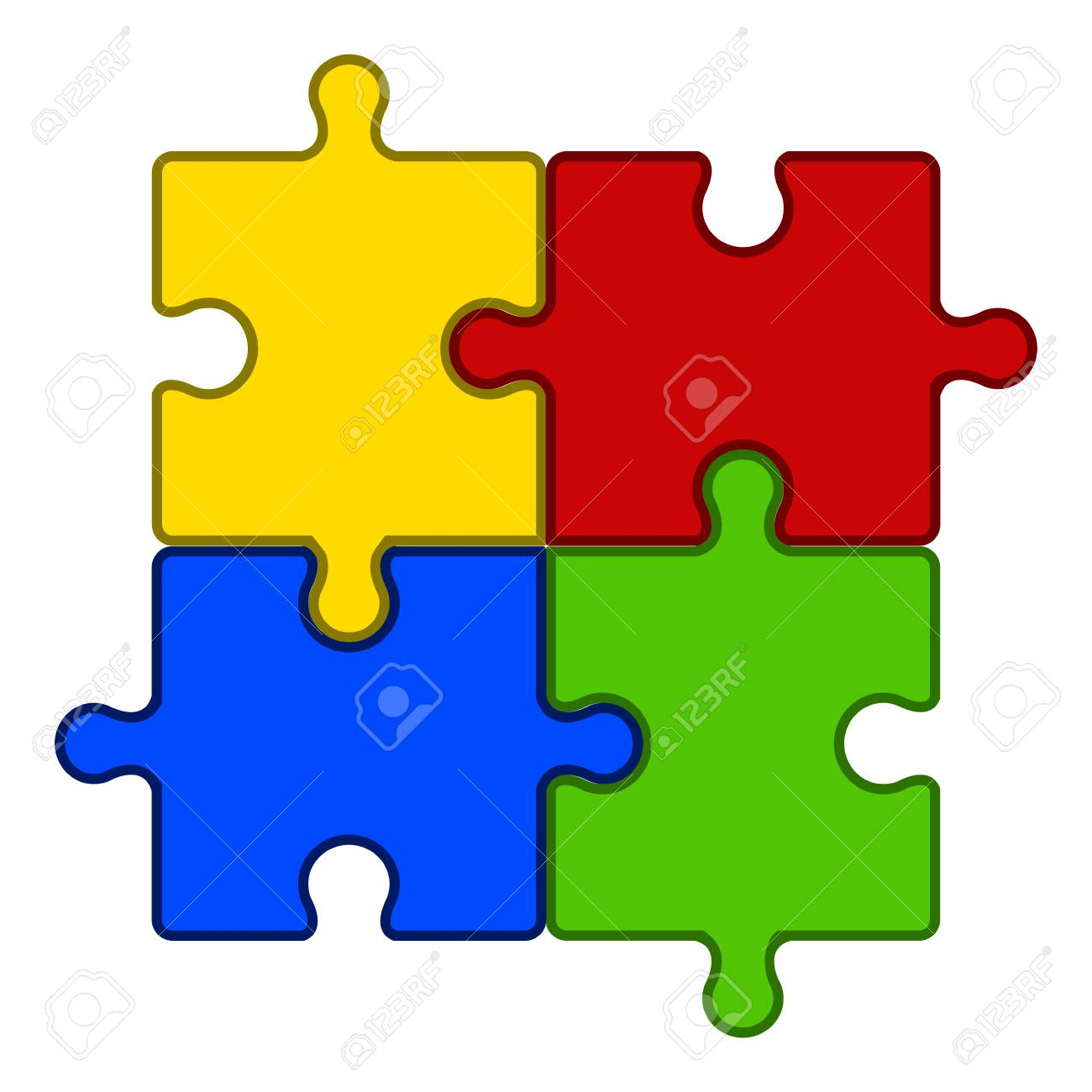 Jigsaw Puzzle Pieces Teamwork Concept Image Vector Illustration Design Stock