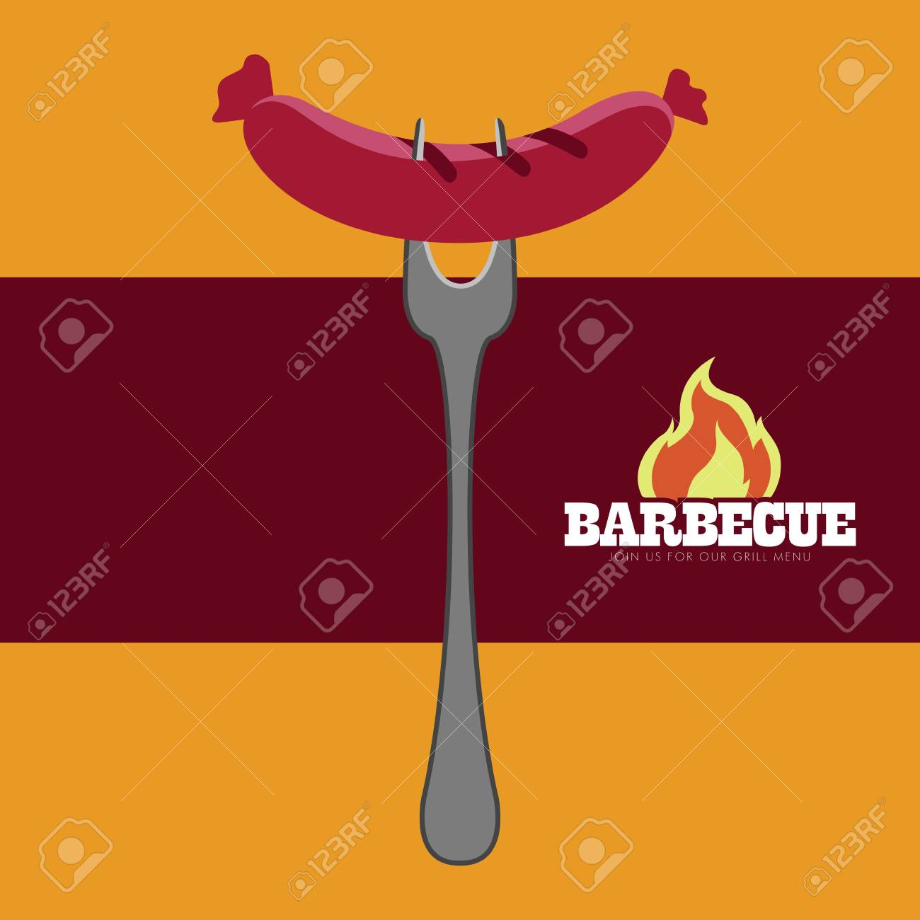 isolated bbq poster iwth a sausage on a fork vector illustration