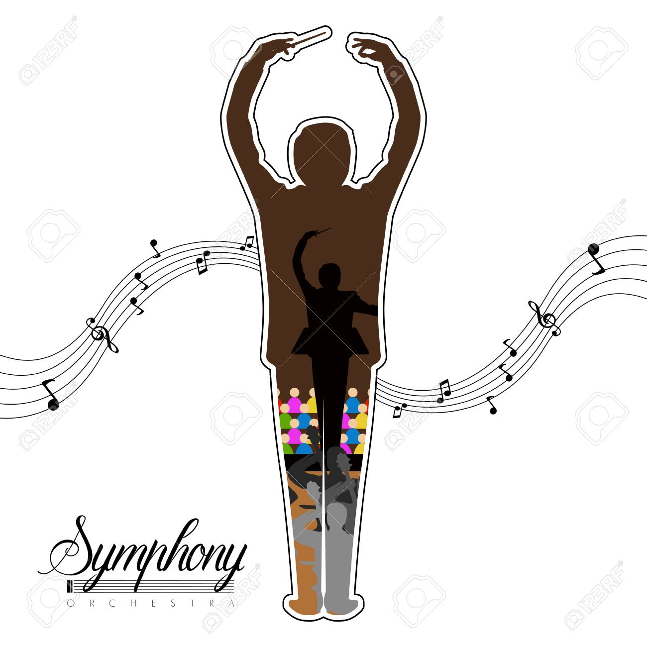 Isolated conductor icon with musical notes and orchestra inside. Vector illustration design - 106410641