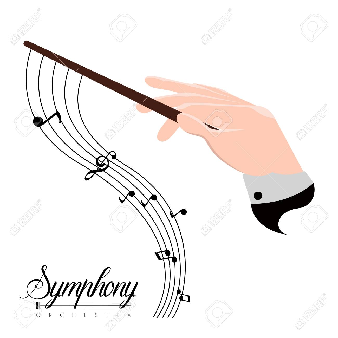 Orchestra director hand icon with musical notes. Vector illustration design - 106410932