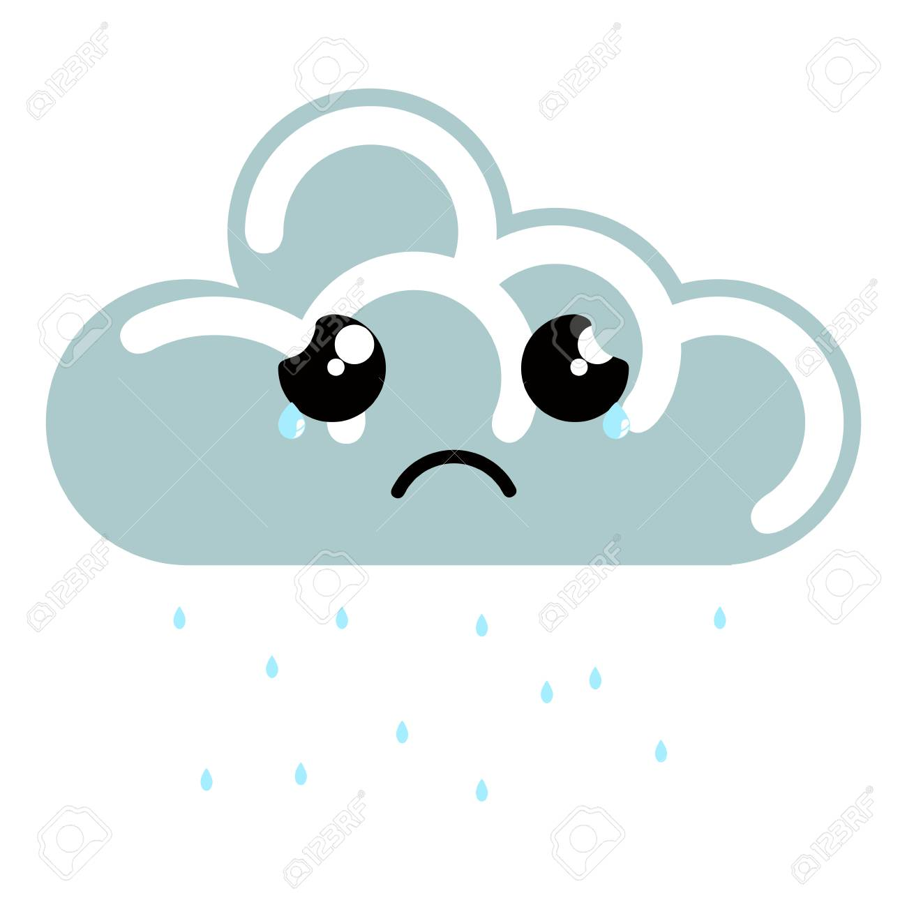 Cute Sad Raining Cloud Weather Icon. Vector Illustration Design ...