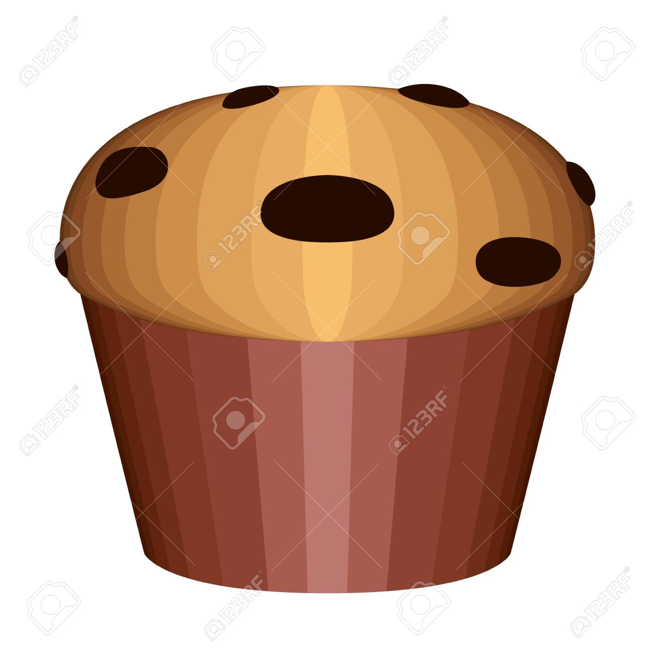Muffin With Chocolate Chips Vector Illustration Design Royalty Free Cliparts Vectors And Stock Illustration Image 123373898