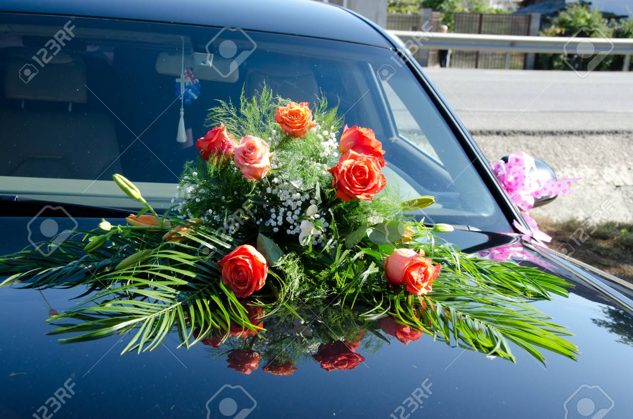 Luxury Wedding Car Decorated With Flowers Stock Photo Picture And