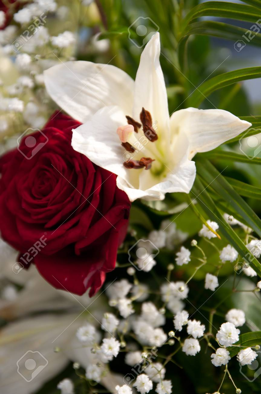 Wedding Flowers Red Rose And White Lily Stock Photo Picture And